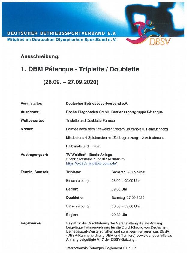 Ausschreibung Deutsche Betriebssportmeisterschaft Pétanque